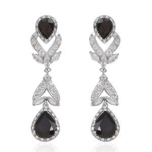Thai Black Spinel, White Topaz Sterling Silver Dangle Earrings TGW 7.92 Cts.