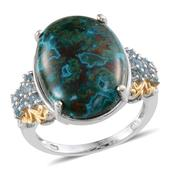 Table Mountain Shadowkite, Electric Blue Topaz 14K YG and Platinum Over Sterling Silver Ring (Size 6.0) TGW 18.000 cts.