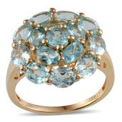 Madagascar Paraiba Apatite 14K YG Over Sterling Silver Ring (Size 9.0) TGW 4.800 cts.