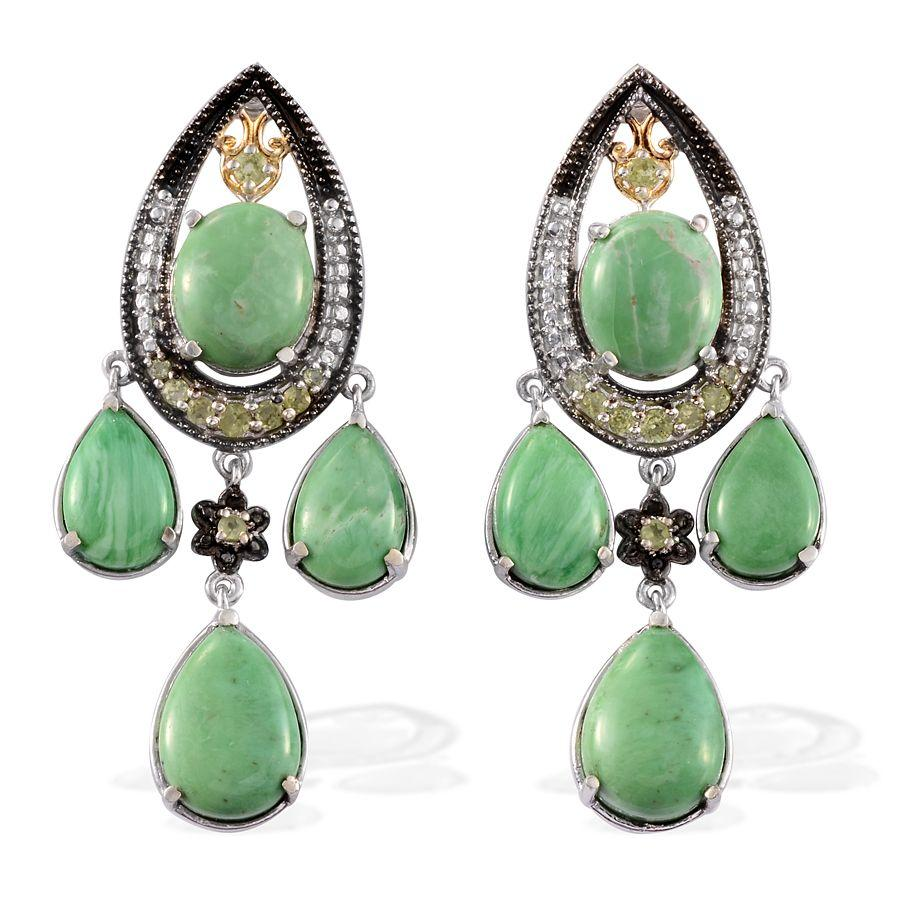 Utah Variscite, Hebei Peridot, Black Diamond 14K YG and Platinum Over Sterling Silver Earrings TDiaWt 0.020Cts., TGW 32.58 Cts.