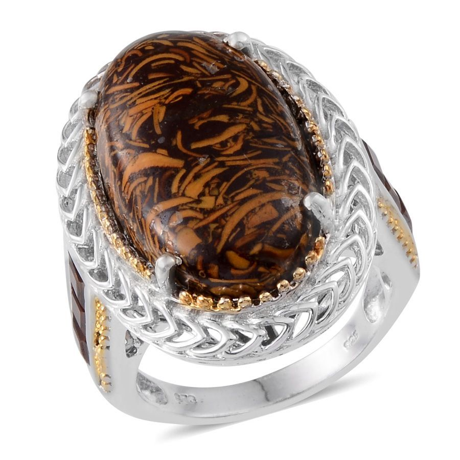 Indian Script Stone, Santa Ana Madeira Citrine 14K YG and Platinum Over Sterling Silver Ring (Size 7.0) TGW 21.90 cts.