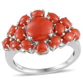 Mediterranean Coral Platinum Over Sterling Silver Ring (Size 8.0) TGW 4.050 cts.