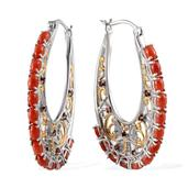 Mediterranean Coral, Mozambique Garnet 14K YG and Platinum Over Sterling Silver Hoop Earrings TGW 9.71 Cts.