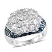 Espirito Santo Aquamarine, Blue Diamond Platinum Over Sterling Silver Ring (Size 7) TDiaWt 0.02 cts, TGW 2.870 cts.
