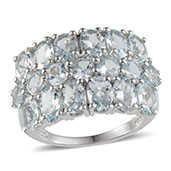 Espirito Santo Aquamarine Platinum Over Sterling Silver Ring (Size 9.0) TGW 6.300 cts.