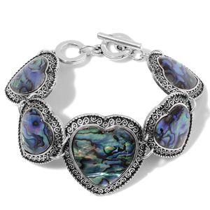 Abalone Shell Silvertone Linked Hearts Bracelet (7.50 In)