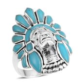 Santa Fe Style Kingman Turquoise Sterling Silver Native American Ring (Size 6.0) TGW 3.00 cts.