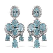 Madagascar Paraiba Apatite Platinum Over Sterling Silver Earrings TGW 6.000 cts.