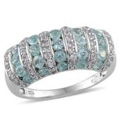 Madagascar Paraiba Apatite, White Topaz Platinum Over Sterling Silver Ring (Size 8.0) TGW 2.000 cts.