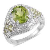 Hebei Peridot, White Topaz Sterling Silver Ring (Size 8.0) TGW 3.65 cts.