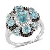 Madagascar Paraiba Apatite, Black Diamond, Diamond Platinum Over Sterling Silver Ring (Size 7.0) TDiaWt 0.02 cts, TGW 3.422 cts.