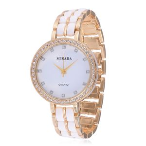 STRADA Austrian Crystal Japanese Movement Watch with Stainless Steel Back in Goldtone