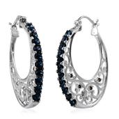 J Francis - Stainless Steel Hoop Earrings Made with SWAROVSKI Blue Crystal TGW 2.080 cts.