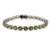 Hebei Peridot, Thai Black Spinel Sterling Silver Bracelet (8.00 In) TGW 23.000 cts.