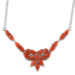 Mediterranean Coral Platinum Over Sterling Silver Necklace (18 in) TGW 6.400 cts.