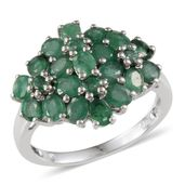 Kagem Zambian Emerald Platinum Over Sterling Silver Ring (Size 6.0) TGW 4.070 cts.