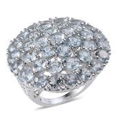 Espirito Santo Aquamarine Platinum Over Sterling Silver Ring (Size 7.0) TGW 16.750 cts.