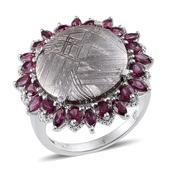 Marvelous Meteorites, Orissa Rhodolite Garnet Platinum Over Sterling Silver Ring (Size 7.0) TGW 23.200 cts.