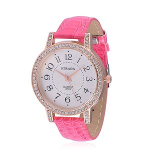 STRADA Austrian Crystal Japanese Movement Watch with Pink Band and Stainless Steel Back