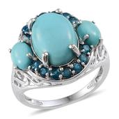 Sonoran Blue Turquoise, Malgache Neon Apatite Platinum Over Sterling Silver Ring (Size 10.0) TGW 7.550 cts.