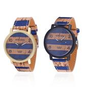 STRADA Japanese Movement Set of 2 Watches in ION Plated Black and YG Stainless Steel with Blue Stripe Faux Leather Band