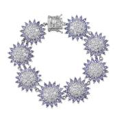 Tanzanite, White Zircon Platinum Over Sterling Silver Bracelet (7.50 In) TGW 36.850 cts.