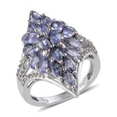 Tanzanite, White Topaz Platinum Over Sterling Silver Ring (Size 7.0) TGW 3.400 cts.