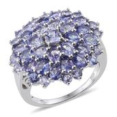 Tanzanite Platinum Over Sterling Silver Cluster Ring (Size 6.0) TGW 6.510 cts.