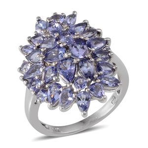 Tanzanite Platinum Over Sterling Silver Cluster Ring (Size 7.0) TGW 4.450 cts.