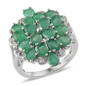Kagem Zambian Emerald, White Topaz Platinum Over Sterling Silver Ring (Size 6.0) TGW 4.920 cts.
