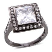 Simulated Diamond Black Rhodium Over Sterling Silver Ring (Size 8.0) TGW 3.89 cts.