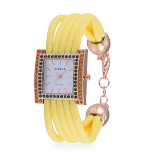 STRADA Austrian Crystal Japanese Movement Yellow Bracelet Watch with Stainless Steel Back (10 in)