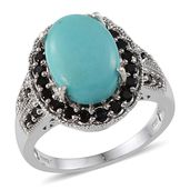 Sonoran Blue Turquoise, Thai Black Spinel Platinum Over Sterling Silver Ring (Size 7.0) TGW 5.380 cts.