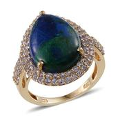 Aurora Azurite, Tanzanite 14K YG Over Sterling Silver Ring (Size 9.0) TGW 13.900 cts.