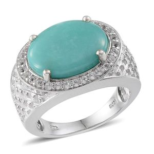 Sonoran Blue Turquoise, White Topaz Platinum Over Sterling Silver Ring (Size 8.0) TGW 8.35 cts.