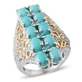 Sonoran Blue Turquoise, White Topaz, Malgache Neon Apatite 14K YG and Platinum Over Sterling Silver Ring (Size 8.0) TGW 9.320 cts.