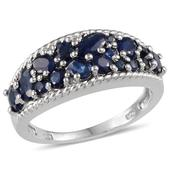 Kanchanaburi Blue Sapphire, Diamond Platinum Over Sterling Silver Ring (Size 7.0) TDiaWt 0.02 cts, TGW 2.640 cts.