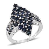 Kanchanaburi Blue Sapphire Platinum Over Sterling Silver Attractive Cluster Ring (Size 6.0) TGW 4.350 cts.