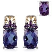 Lavender Alexite, Amethyst 14K YG and Platinum Over Sterling Silver Earrings TGW 12.35 cts.