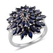 Kanchanaburi Blue Sapphire Platinum Over Sterling Silver Radiant Cluster Ring (Size 8.0) TGW 5.600 cts.