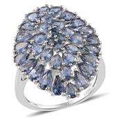 Kanchanaburi Blue Sapphire Platinum Over Sterling Silver Ring (Size 6.0) TGW 7.80 cts.