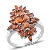 Orange Sapphire Platinum Over Sterling Silver Ring (Size 8.0) TGW 4.440 cts.
