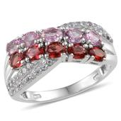 Pink and Sunset Red Sapphire, White Topaz Platinum Over Sterling Silver Ring (Size 8.0) TGW 2.700 cts.