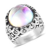 Aurora Borealis Glass, Austrian Crystal Stainless Steel Ring (Size 10.0)