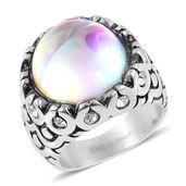 Aurora Borealis Glass, Austrian Crystal Stainless Steel Ring (Size 6.0)