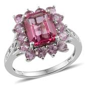 Pure Pink Mystic Topaz (Oct 4.25 Ct), Lab Created Pink Sapphire, White Topaz Ring in Platinum Overlay Sterling Silver Nickel Free (Size 8) TGW 6.25 Cts.