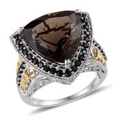 Brazilian Smoky Quartz, Thai Black Spinel 14K YG and Platinum Over Sterling Silver Ring (Size 8.0) TGW 14.550 cts.