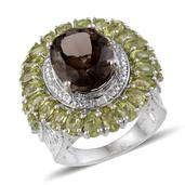 Brazilian Smoky Quartz, Hebei Peridot, Diamond Platinum Over Sterling Silver Ring (Size 8.0) TDiaWt 0.02 cts, TGW 15.286 cts.