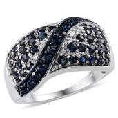 Kanchanaburi Blue Sapphire, Diamond Platinum Over Sterling Silver Ring (Size 10.0) TDiaWt 0.08 cts, TGW 2.525 cts.