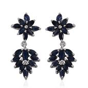 Kanchanaburi Blue Sapphire Platinum Over Sterling Silver Earrings TGW 4.80 Cts.